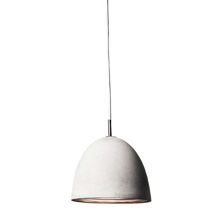 New Product  Castle 1 Light Pendant In Poured Concrete With Chrome Reflector - Medium Sold by