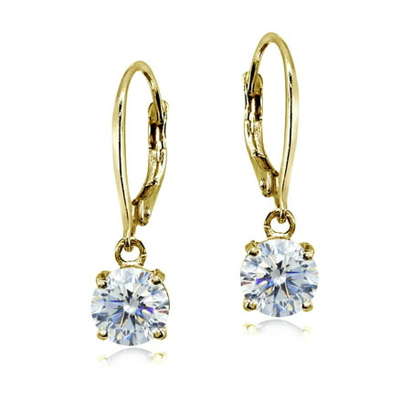 Cubic Zirconia Yellow Gold Flashed Sterling Silver 6mm Round Dangle Leverback Earrings Zirconia 6mm Round Earrings