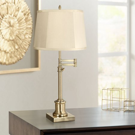 360 Lighting Swing Arm Desk Table Lamp Antique Brass Beige Fabric Drum Shade for Living Room Bedroom Bedside Office Family