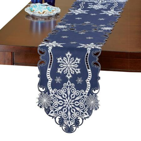 Elegant Snowflake Navy Blue Christmas Table Linens Runner