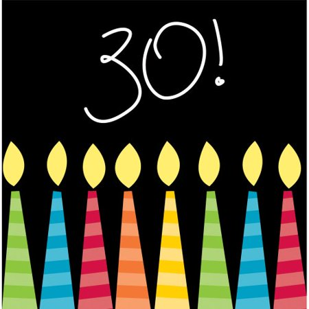 Creative Converting 16 Count 3-Ply Paper Beverage Napkins, Great Birthday 30th
