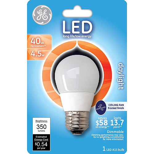 ge led 4.5w daylight ceiling fan light bulb. a15 white - walmart