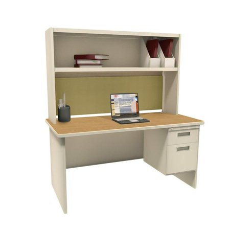 - Pronto PRNT2UTOKF7106 72 in. Single File Desk with Storage Shelf, Putty & Oak & Palmetto