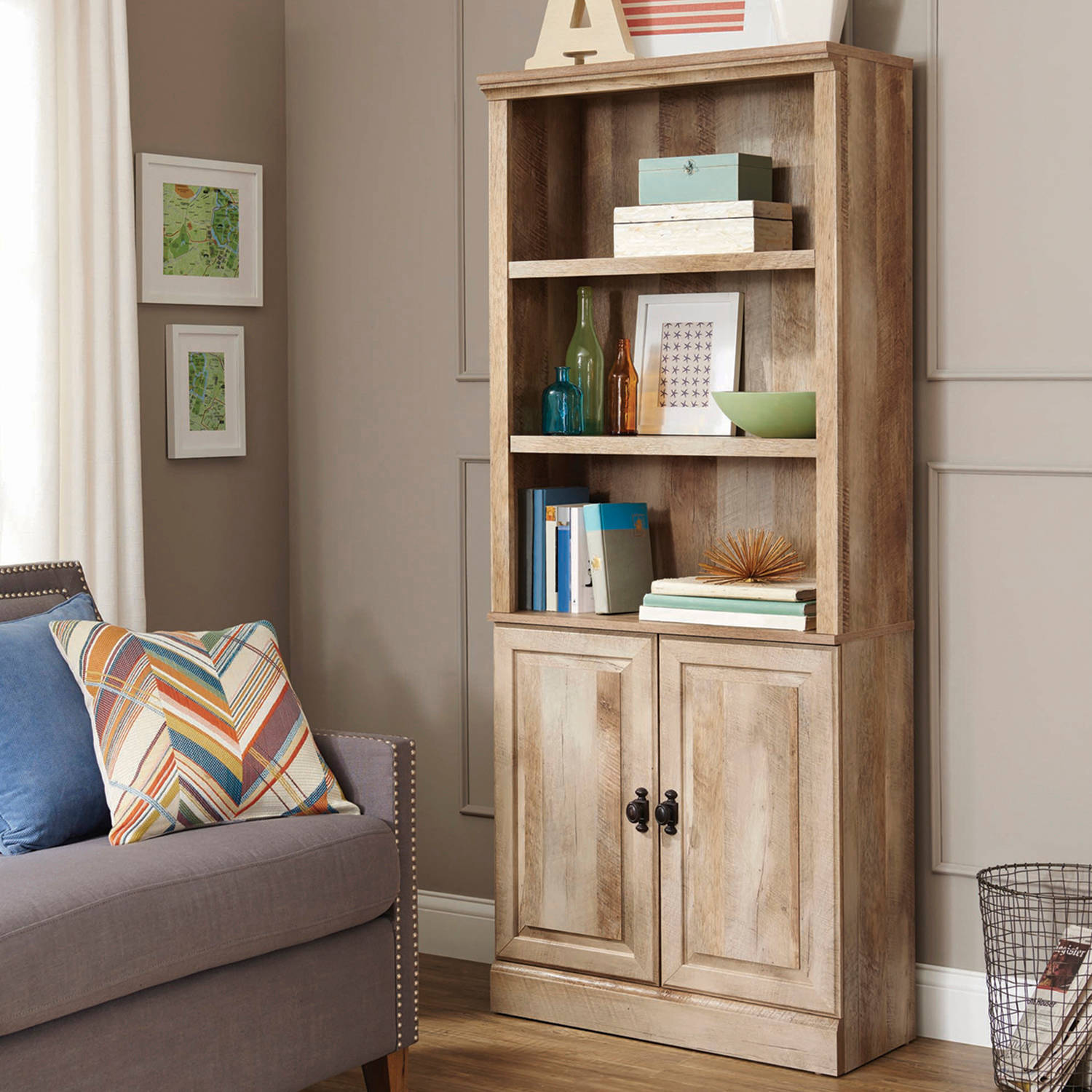 Better Homes Gardens 71 Crossmill Bookcase With Doors Weathered