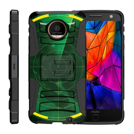 TurtleArmor ® | For Motorola Moto Z Force Droid Edition XT1650-02 [Hyper Shock] Hybrid Dual Layer Armor Holster Belt Clip Case Kickstand - Radar