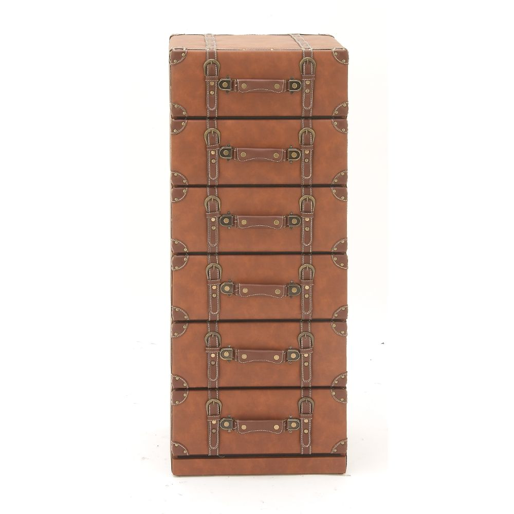 Decmode 42 X 16 Inch Traditional Wood and Leather Trunk Style Six-Drawer Chest, Tan