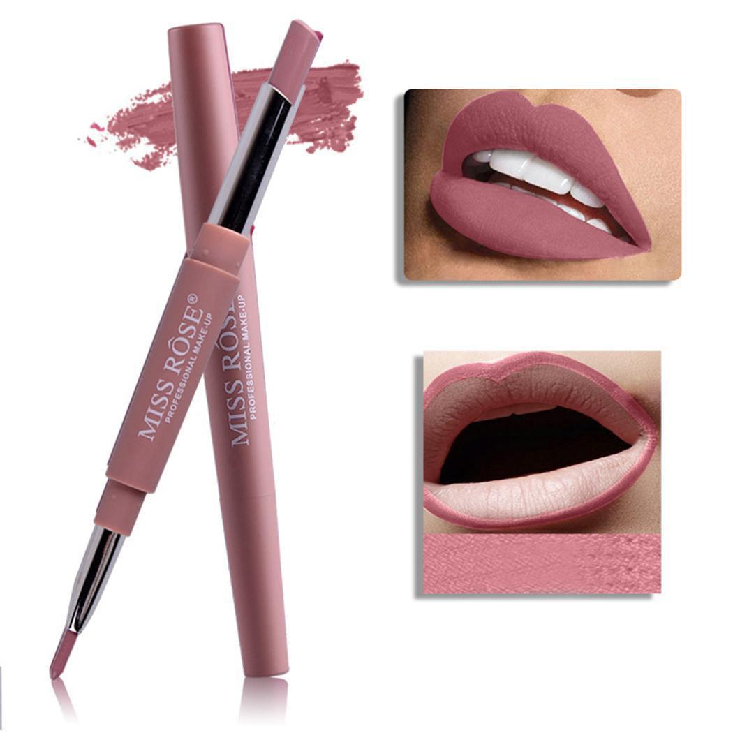 Fashion Women Long Last Dual Head Lipliner Matte Lipstick Lip Pencil Makeup Tool