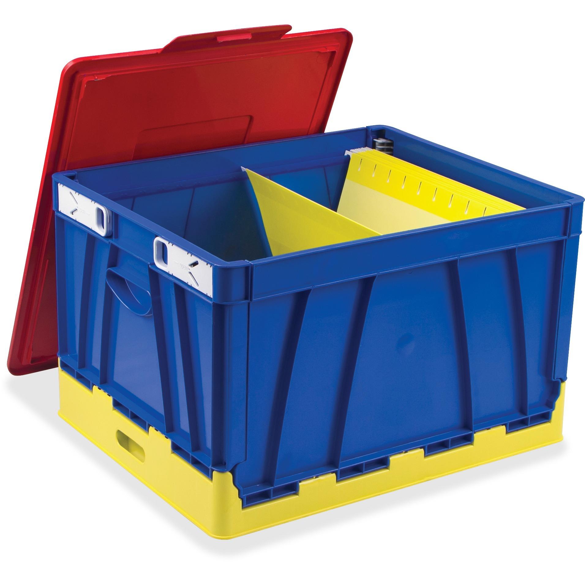 Storex, STX61818E04C, 4 Piece Collapsible Crates, 4 / Set, Red,Blue,Yellow