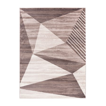 Summit Collection Modern Geometric Brown Taupe Area Rug