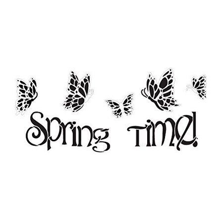 Spring Time and Butterflies Stencil by StudioR12 | Festive Spring Word Art - Medium 14 x 6-inch Reusable Mylar Template | Painting, Chalk, Mixed Media | Use for Crafting, DIY Home Decor - STCL552_1