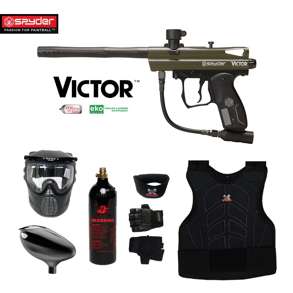 Spyder Victor Beginner Protective CO2 Paintball Gun Package Olive Green by