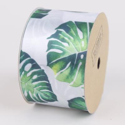 LaRibbons 50mm Turtle Leaf Printed Satin Ribbon White/Green 10 Yard Spool ()