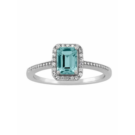 Forever New Aquamarine And Cz Sterling Silver Emerald