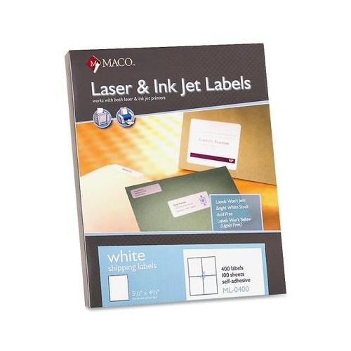 MACO White Laser/Ink Jet Shipping Label MACML0400