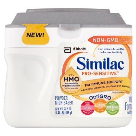 Similac Pro Sensitive Infant Formula With 2  Fl Human Milk Oligosaccharide   Hmo  For Immune Support  22 5 Ounces  Single Tub  Pack Of 4  Lid Color Varies