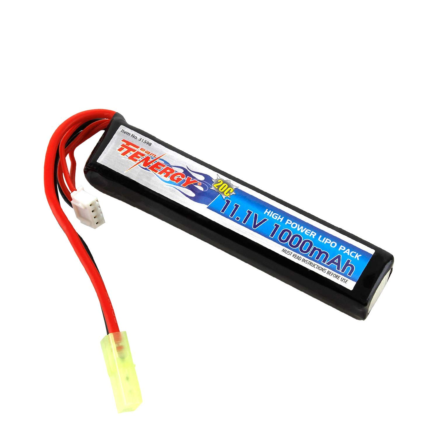 Tenergy 11.1V LiPo Airsoft Battery 1000mAh 20C Stick Battery Pack with Mini Tamiya Connector for Airsoft Guns M4, AK47, MP5K, MP5, M14, M60, G36