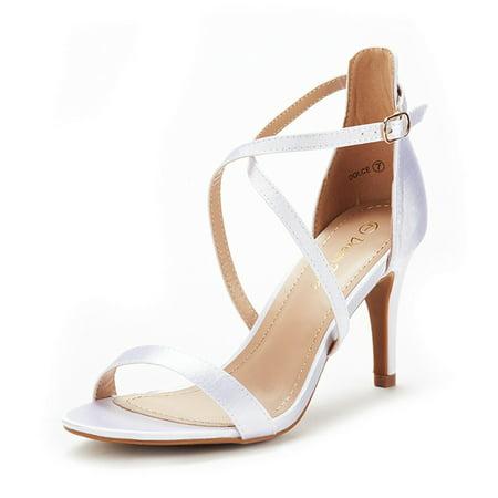 DREAM PAIRS Women's Pump Heel Sandals Stilettos Ankle Strap Open Toe Sandals DOLCE WHITE Size 10