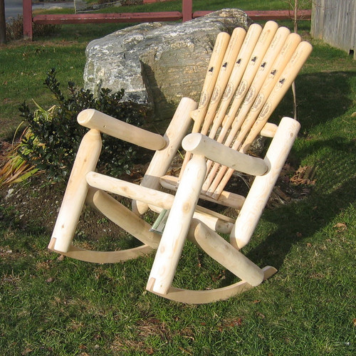 Ski Chair Base ball Bat Solid Wood Rocking Adirondack Chair