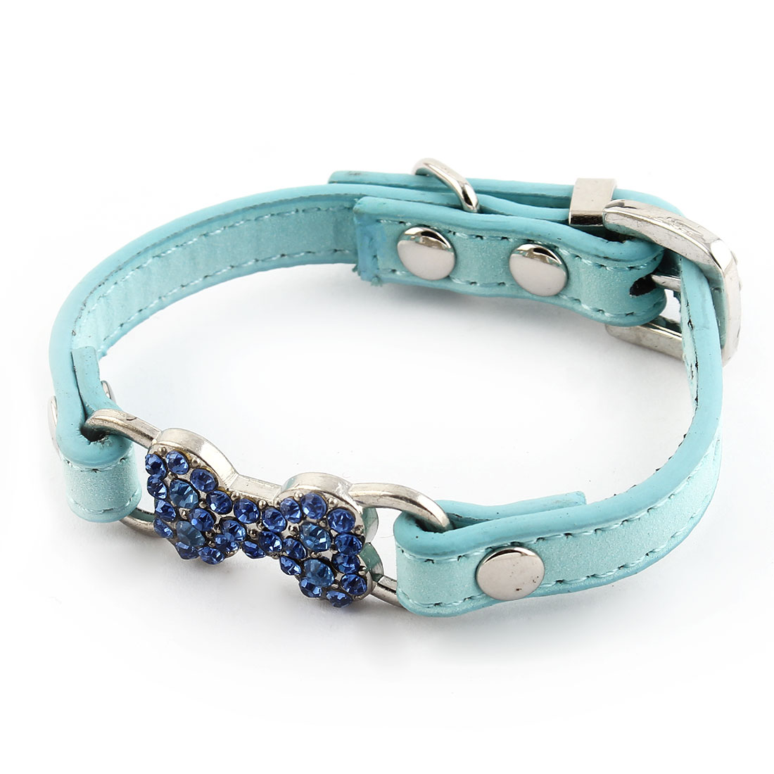 Bone Shape Decor Faux Rhinestones Inlaid Adjustable Pet Dog Cat Collar Blue XXS