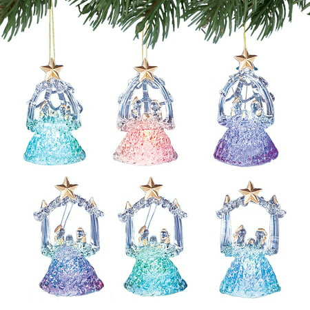 Color Changing Glass Nativity LED Christmas Tree Ornament Set ()