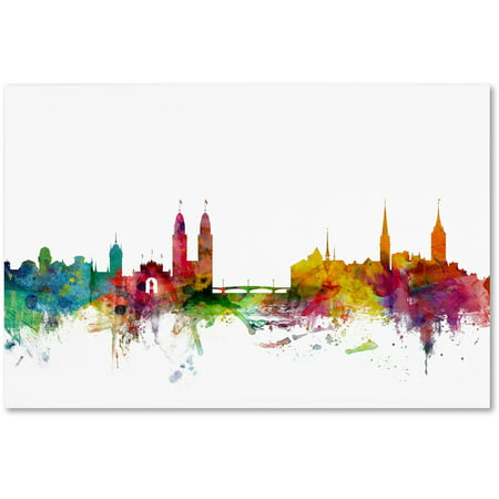 """Trademark Fine Art """"Zurich Switzerland Skyline"""" Canvas Art by Michael Tompsett"""