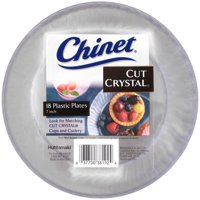 """Chinet Cut Crystal Plastic Snack/Dessert Plates, 7"""", 18 Count"""