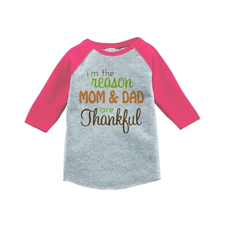Custom Party Shop Baby's I'm The Reason Mom and Dad Are Thankful Pink Raglan - 4T](Custom M&m)