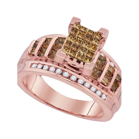 Rose Gold Princess Diamond - 10kt Rose Gold Womens Princess Cognac-brown Color Enhanced Diamond Cluster Bridal Wedding Engagement Ring 1.00 Cttw