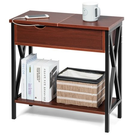 Gymax Flip Top End Table Sofa Side Console Table W/Shelf Hidden Hinged Storage Brown ()