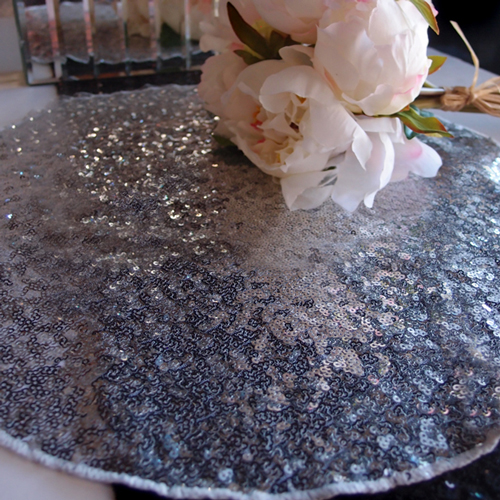 """Quasimoon 16"""" Silver Sequin Round Table Placemat by PaperLanternStore"""