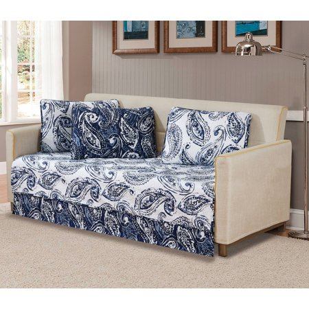 Floral Daybed - Fancy Linen 5pc DayBed Bedspread Quilted Print Modern Floral Paisley Flower White Navy Blue New # Ellen 63