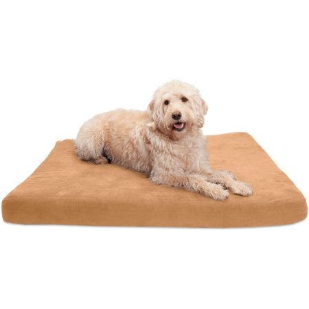 FurHaven  Quilted Suede Deluxe Orthopedic Pet Bed Camel Suede Pet Bed