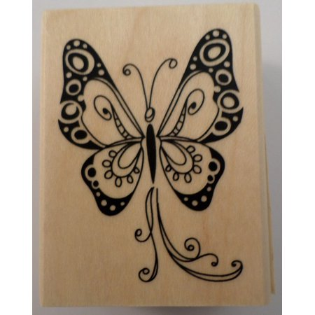 - BUTTERFLY SCRAPBOOKING WOOD MOUNTED RUBBER STAMP, wooden rubber stamp By Inkadinkado