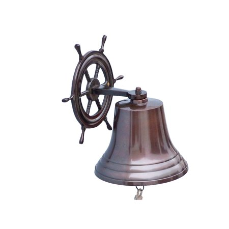 Ship Wheel Antique Copper Bell 6