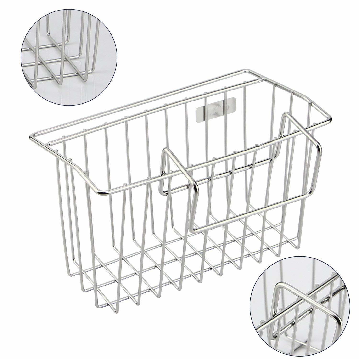 Sponge Holder, Sink Caddy Kitchen Brush Soap Dishwashing Liquid Drainer Rack - Stainless Steel