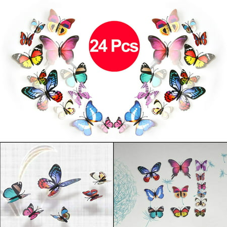 TSV 24PCS 3D Colorful DIY Butterfly Removable Mural Stickers Wall Stickers Art Design Decal with Magnets