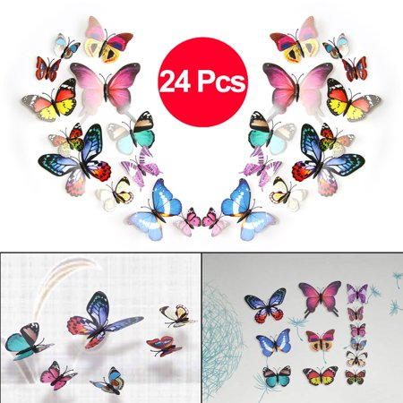 Tabu Design Decal (TSV 24PCS 3D Colorful DIY Butterfly Removable Mural Stickers Wall Stickers Art Design Decal with Magnets)