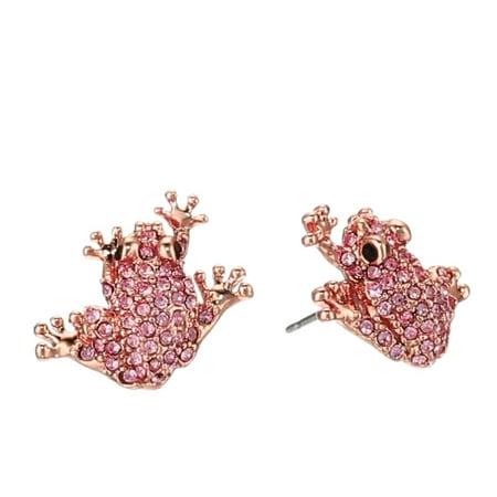 Kate Spade Swamped Pink Pave Frog Stud Earrings