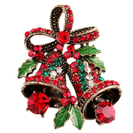 AkoaDa Cute Christmas Creative Bow Brooches Costume Pins Vintage Bell Creative Gift Jewelry Brooch Xmas Gifts