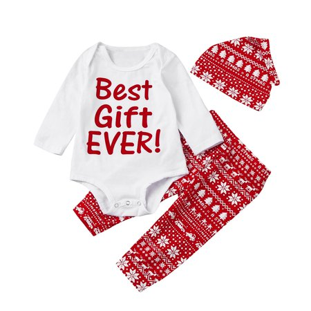 3Pcs Infant Baby Boy Girl Romper+Pants+Hat Christmas Outfits Set Clothes - Christmas Outfit Boys