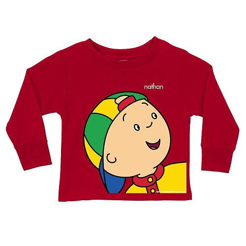 Personalized Caillou Close-Up Red Long Sleeve Toddler Boy Tee