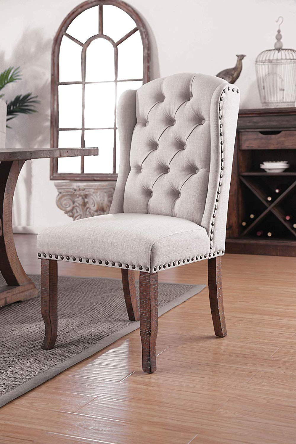 Button Tufted Fabric Upholstery Wingback Chair Rustic Pine And Ivory Pack Of Two Walmart Com Walmart Com