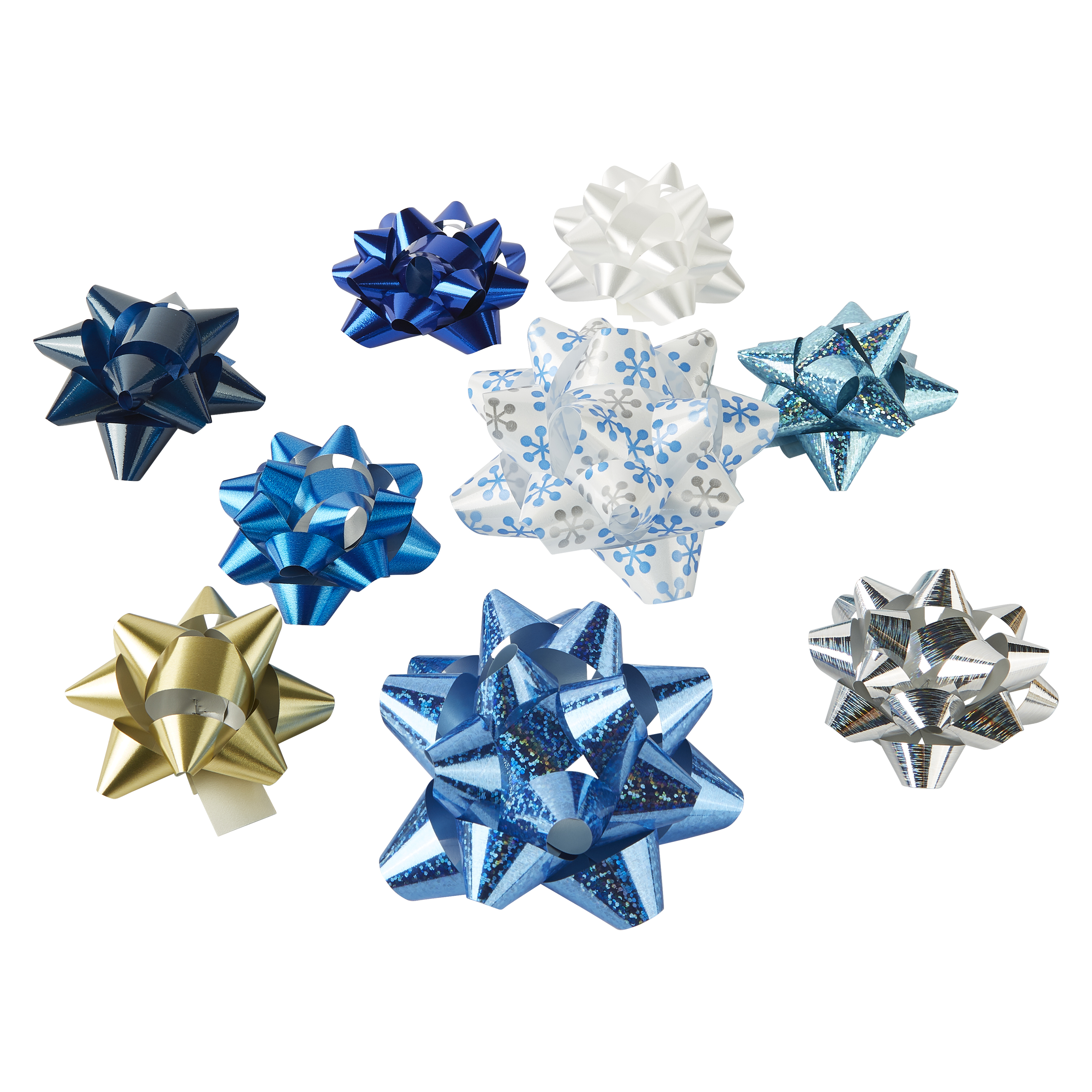 Holiday Time Assorted Blue, White, Silver Gift Bows, 20 count