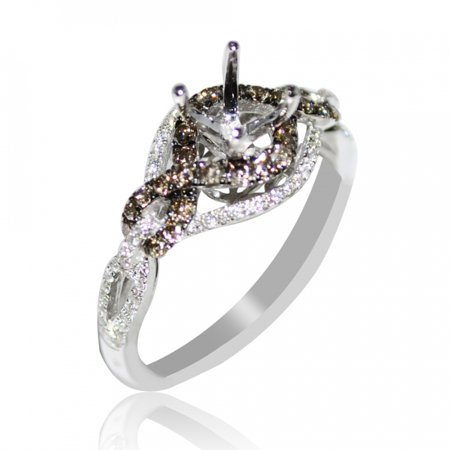 Bridal Ring Setting Cognac White Diamond 0.61cttw 14K Whtie Gold Fits 0.5ct Solitaire Comfort Fit Solitaire Setting
