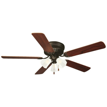 Design House 153411 Millbridge 52-Inch 3-Light 5-Blade Hugger Mount Ceiling Fan, Reversible Dark Mahogany/Light Maple Blades, Oil Rubbed Bronze