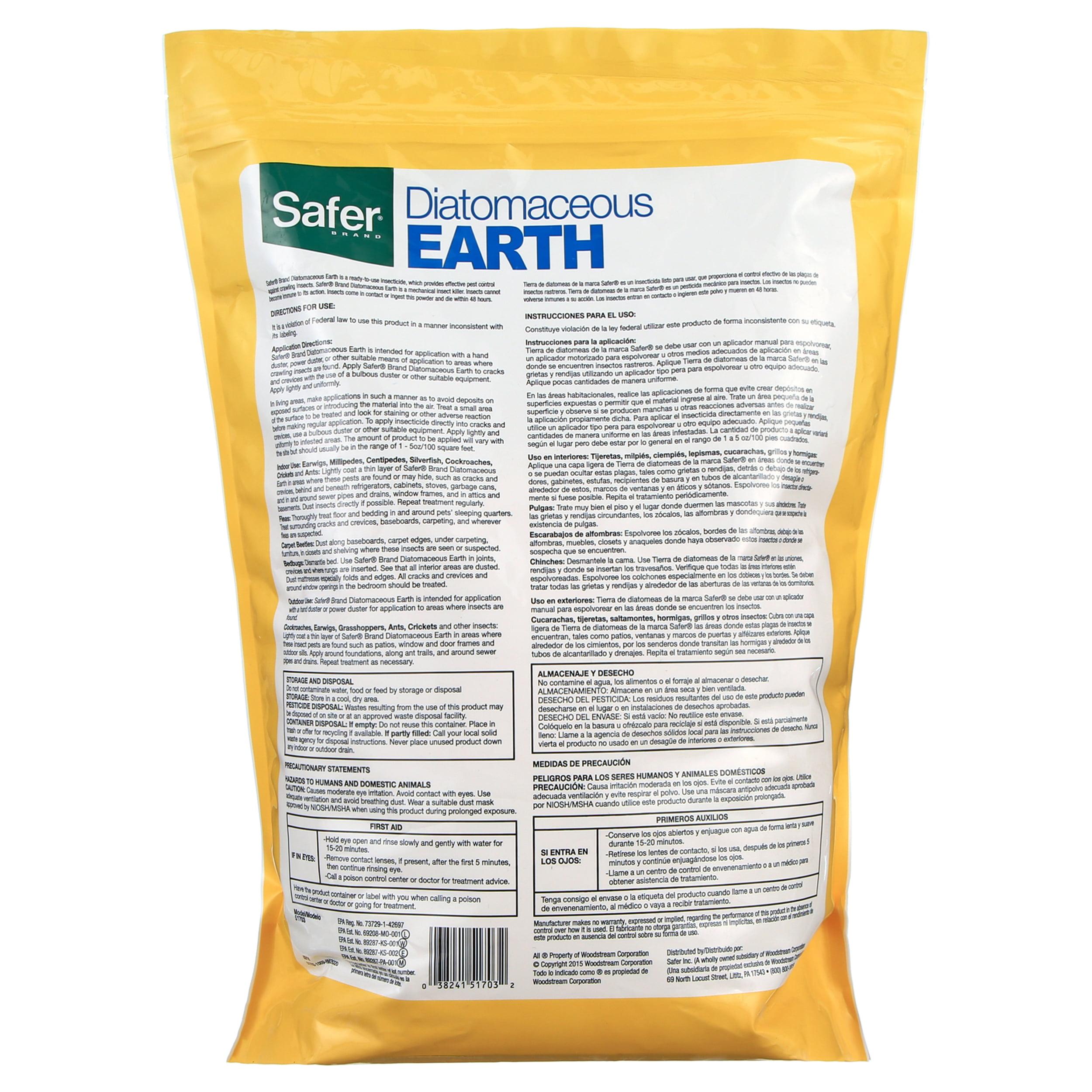 Safer Brand Diatomaceous Earth Bed Bug Flea Ant Crawling Insect Killer 4 Lb Walmart Com Walmart Com