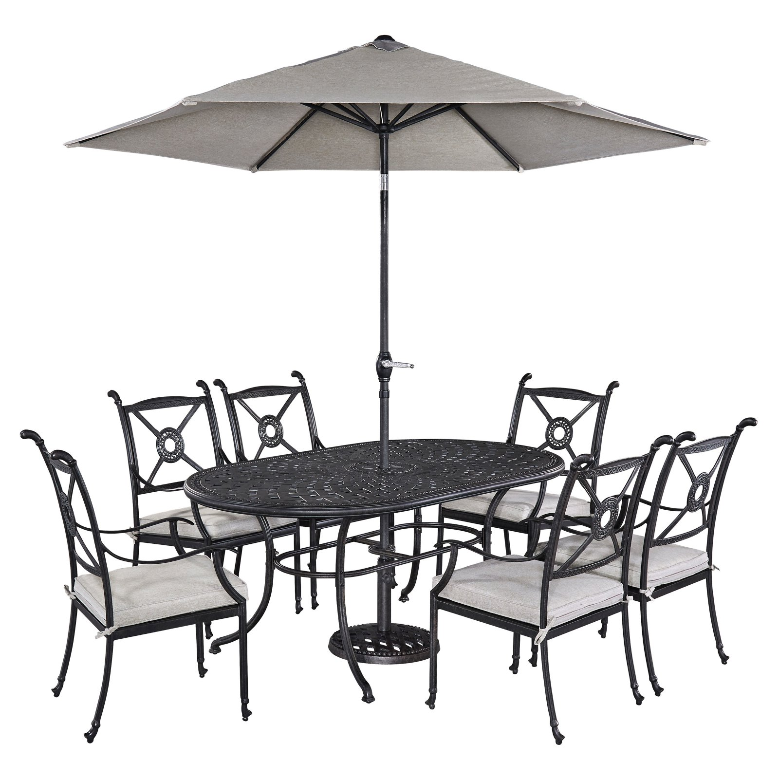 Home Styles Athens 7pc Dining Set with Oval Dining Table and 6 Arm Chairs