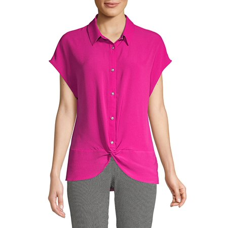 Jones New York Woman Three Button Suit Jacket - Twist Button Front Blouse