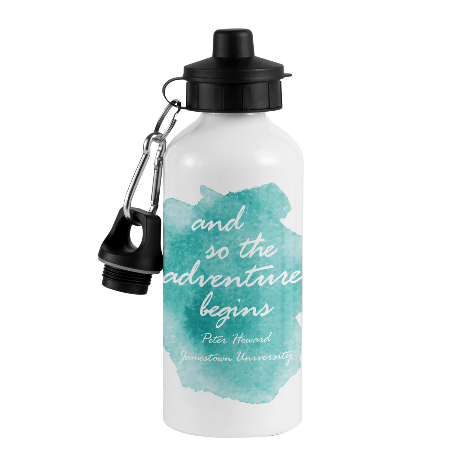 Personalized Adventure Begins Water Bottle Available in Blue or Coral