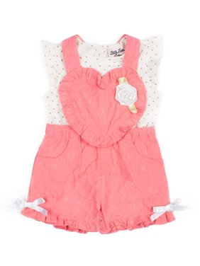 e4371762c Product Image Short Sleeve Foil Printed Bodysuit & Lace Shortall, 2pc  Outfit Set (Baby Girls)